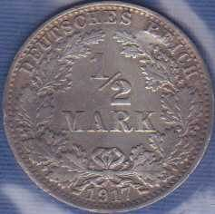 Germany 1/2 Mark 1917A