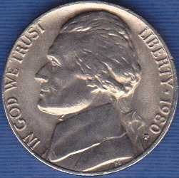 1980 P Jefferson Nickel