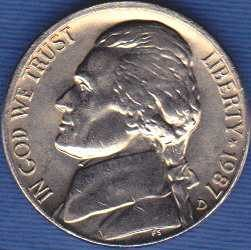 1987 D Jefferson Nickel