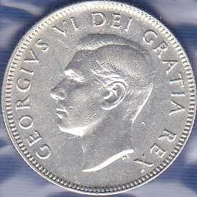 Canadian 25 Cents 1949