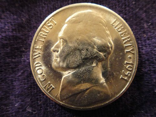 1951-S Jefferson Nickel MS-65 (GEM) Average Strike