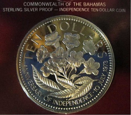 Bahamas 10 Dollars 1975 Independence Anniversary