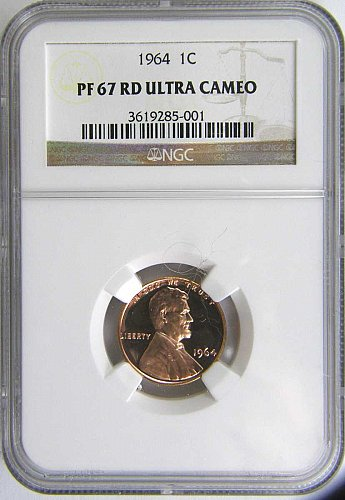 1964 LINCOLN CENT PROOF UCAM 67 RED