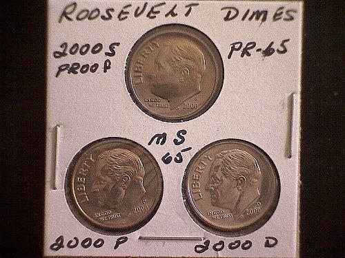 2000-S  2000-P  2000-D ROOSEVELT DIMES