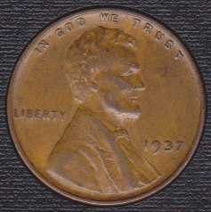 1937 P Lincoln Wheat Cent Small Cent