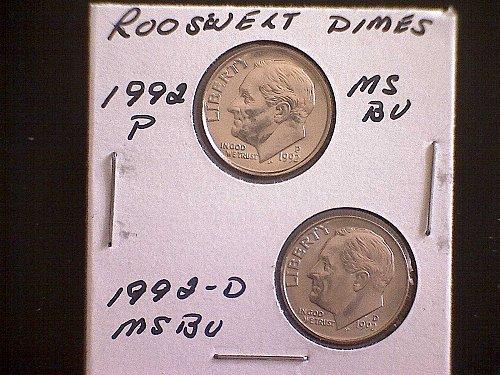 1992-P & 1992-D  ROOSEVELT DIMES