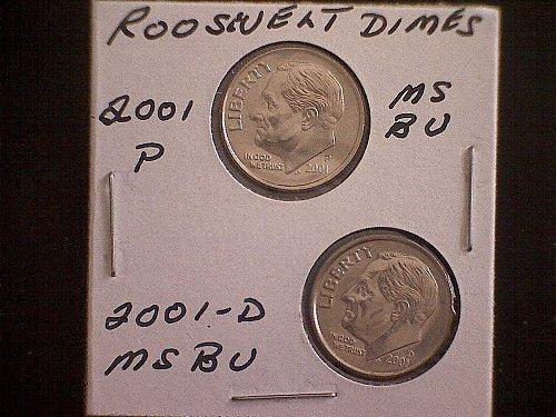 2001-P & 2001-D  ROOSEVELT DIMES