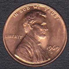 1969 D Lincoln Memorial Cent