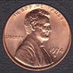 1974 D Lincoln Memorial Cent
