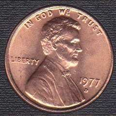 1977 D Lincoln Memorial Cent