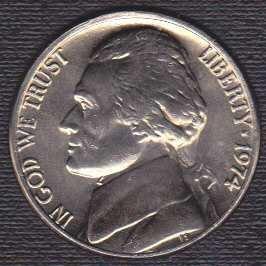 1974 P Jefferson Nickel