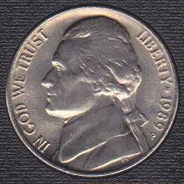 1989 P Jefferson Nickel