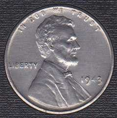 1943 P Lincoln Wheat Cent, Steel