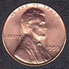 1959 P Lincoln Memorial Cent