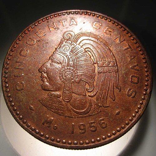 1956 Mexico 50 Centavos