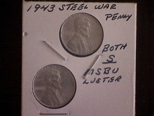 1943-S LINCOLN STEEL WHEAT WAR PENNIES    2 COINS