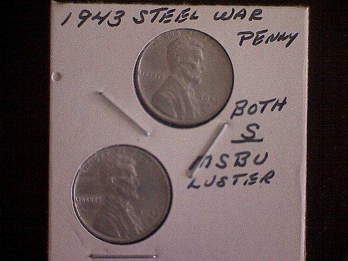 1943-S LINCOLN STEEL WHEAT WAR PENNIES    2 COINS
