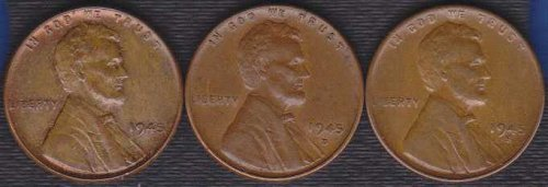 1945 P D & S Lincoln Wheat Cents