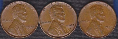 1947 P D & S Lincoln Wheat Cents