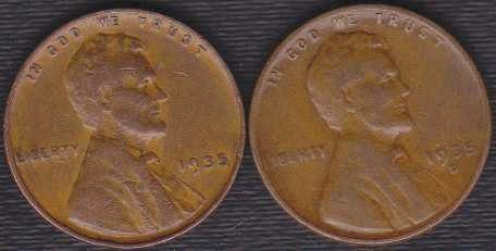 1935 D & P Lincoln Wheat Cents