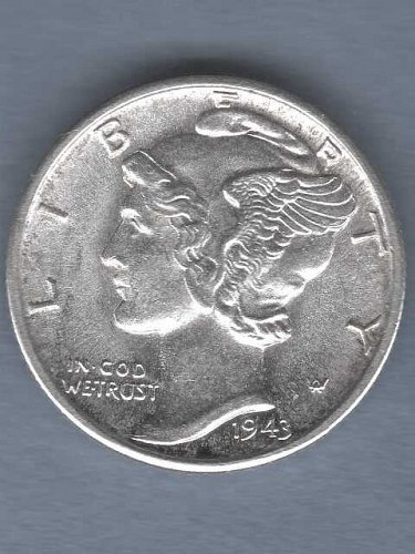 Gem BU 1943-D Silver Mercury Dime US Coin  Strong Clear F.B.