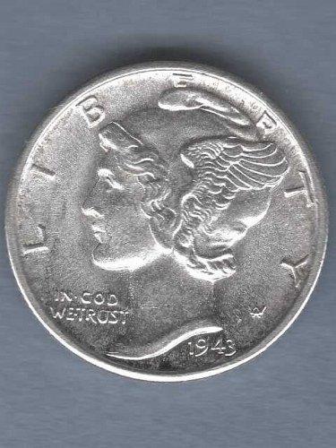 Gem BU 1943-D Silver Mercury Dime US Coin  Strong Clear F.B.