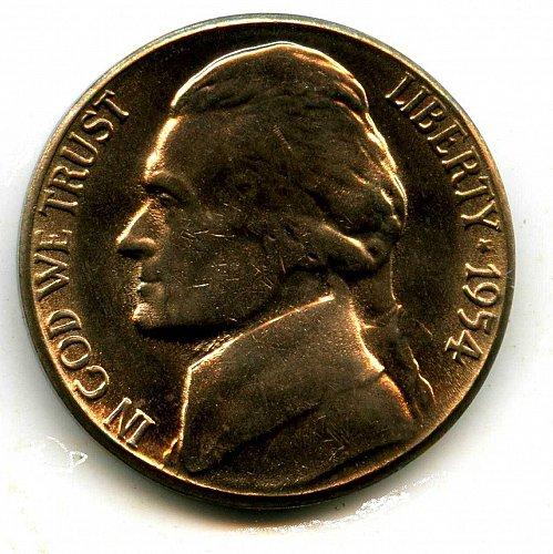 1954S Brilliant Uncirculated Jefferson Nickel