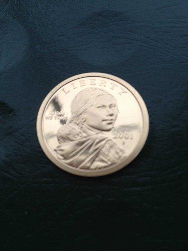 Gem Deep Cameo Proof  2001-S  Sacagawea Golden Dollar   Very Tough !