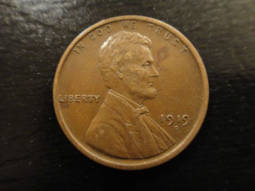 1919-D Lincoln Cent Almost Uncirculated-53