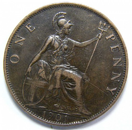 1901 GREAT BRITAIN PENNY KM #790
