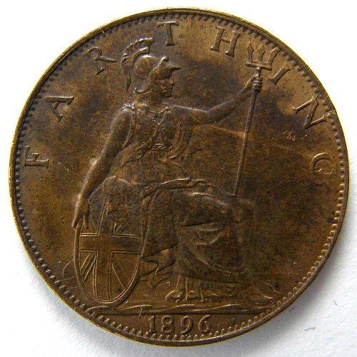 1896 GREAT BRITAIN FARTHING KM #788.1 Queen Victoria