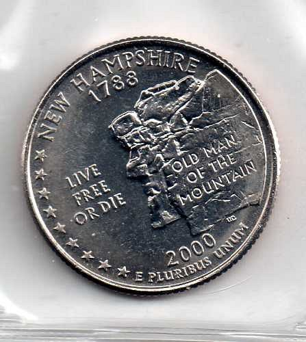 2000 P BU New Hampshire Washington Quarter #3