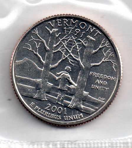 2001 P BU Vermont Washington Quarter #3