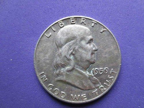 1959-P-Franklin Half Dollar---Circulated---