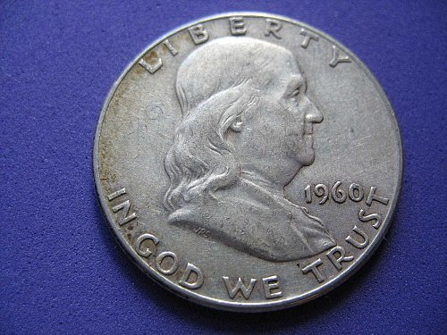 1960 P- Franklin Half Dollar--90% Silver----Circulated---