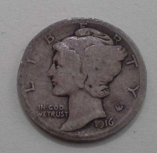 1916 Silver Mercury Head Dime - Good