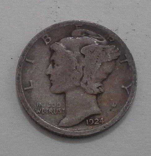1924-D Silver Mercury Head Dime - VG