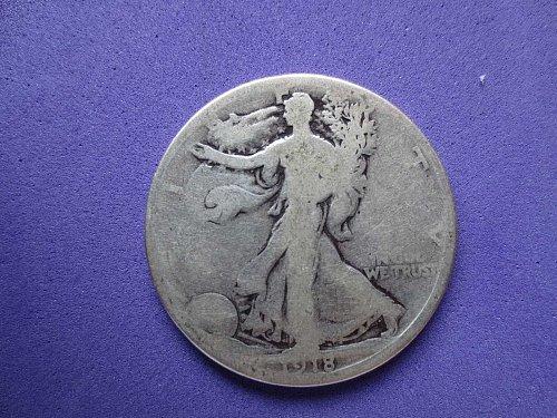 1918-S Walking Liberty Half Dollar- Circulated---