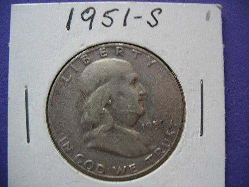 1951-S-Franklin Half Dollar****90% SILVER*******