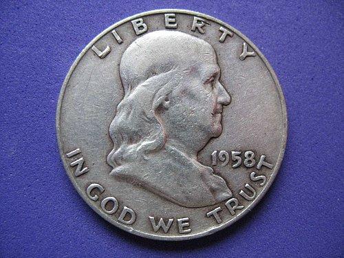 1958-D -Franklin Half Dollar****90% SILVER**Decent Old Coin***