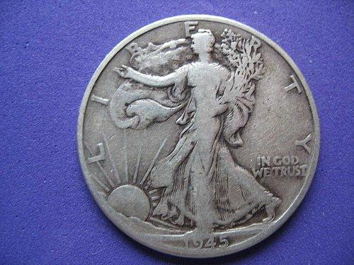 1945-D  Walking Liberty Half Dollar- Circulated----