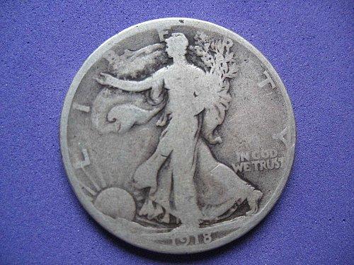 1918-P-Walking Liberty Half Dollar- Circulated----