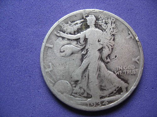 1934-P-Walking Liberty Half Dollar- Circulated----
