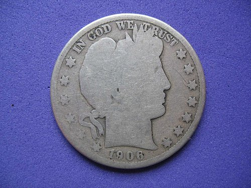 1906 D Barber Half Dollar----Old and Worn but mostly Legible--