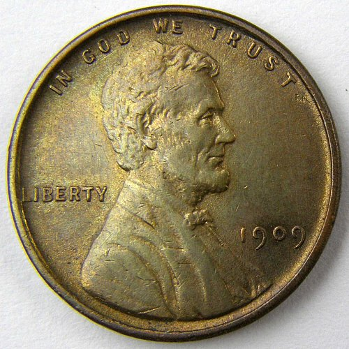1909 P Lincoln Wheat Cent VDB Reverse Planchet Defect