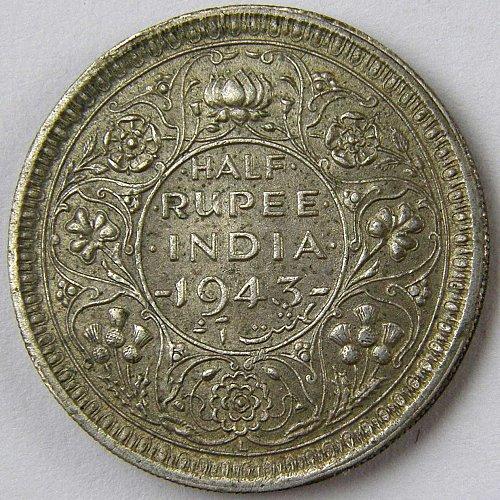 1943L INDIA 1/2 Rupee KM#552