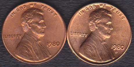 1980 P & D Lincoln Memorial Cents