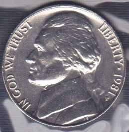1981 P Jefferson Nickel / From mint set