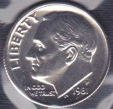 1981 P Roosevelt Dime / From mint set