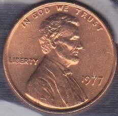 1977 P Lincoln Memorial Cent / From mint set